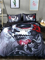 cheap -Skull Print 3-Piece Duvet Cover Set Hotel Bedding Sets Comforter Cover with Soft Lightweight Microfiber ,Full/Queen/King(Include 1 Duvet Cover and 1or 2 Pillowcases)