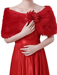 cheap -Short Sleeve Shawls Faux Fur Wedding Women's Wrap With Floral