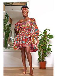 cheap -Women's A Line Dress Knee Length Dress Fuchsia Orange Green 3/4 Length Sleeve Floral Print Summer 1920s Casual Lantern Sleeve 2021 S M L XL