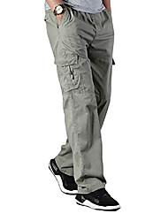 cheap -men's Trousers Casual Pants full Length Straight-Leg Pants elastic waist loose fit lightweight workwear pull on cargo pants khaki