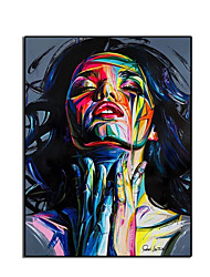 cheap -Oil Painting Hand Painted Vertical Abstract Nude Comtemporary Modern Rolled Canvas (No Frame)