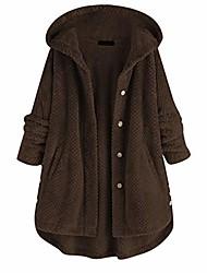 cheap -women fleece hooded button/zipper jacket plus size warm fuzzy coats fluffy sweatshirt two pockets oversized outwear(xxx-large,coffee)