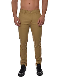 cheap -mens skinny fit basic flat-front chino uniform pants (made in america) wheat 40