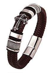 cheap -man's jewelry gift cross leather bracelet magnetic buckle religious christian stainless steel bangle (9.4inch coffee color leather)