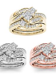 cheap -Ring Rose Gold Gold Silver Rhinestone Alloy Luxury Elegant European 3pcs 5 6 7 8 9 / Women's