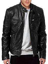 cheap -men's sword black genuine lambskin leather biker jacket (xs)
