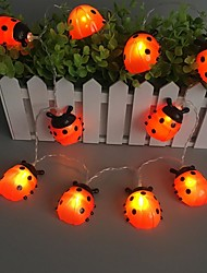 cheap -Ladybugs Led String Lights Fairy Light 3M 20LEDs 1.5M 10LEDs Battery Powered Outdoor Garden Fence Christmas Halloween Garland Holiday Decorative