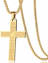 """cheap -stainless steel bible verse our father lord's prayer cross pendant necklaces for boy men women 24"""" chain gold"""