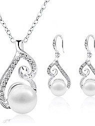 cheap -jewelry set gold plated faux pearl pendant necklace dangle earring stud set gifts for women