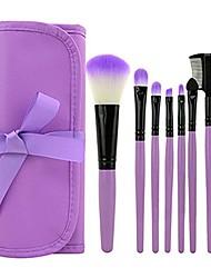 cheap -professional 7pcs cosmetic makeup tool powder blush eyelash brow concealer lip brush kit set with bag (coral green)