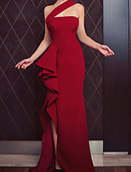 cheap -Sheath / Column Minimalist Sexy Wedding Guest Formal Evening Dress One Shoulder Sleeveless Asymmetrical Satin with Ruffles Split 2021
