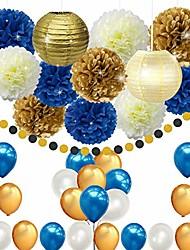 cheap -45pcs diy navy blue gold party decorations supplies blue birthday baby shower pary decor blue gold cream paper pom poms lanterns balloons dot paper garland wedding, bridal shower festival party decor