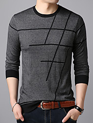 cheap -Men's Cardigan Pullover Sweater Knitted Braided Striped Solid Color Stylish Wedding Acrylic Fibers Long Sleeve Sweater Cardigans Crew Neck Fall Winter Gray Green Red