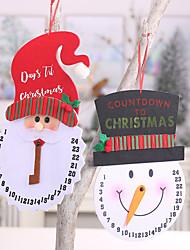 cheap -Christmas Decorations Cartoon Snowman Countdown Clock Non-woven Old Man Clock Creative Wall Clock Pendulum Clock