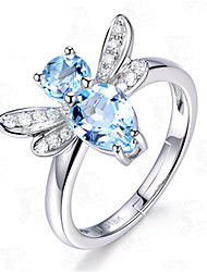 cheap -Women Ring Aquamarine Silver Platinum Plated Alloy Butterfly Stylish Unique Design European 1pc Adjustable / Women's / Daily