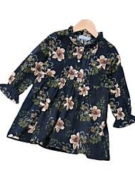 cheap -Kids Girls' Flower Sun Flower Graphic Print 3/4 Length Sleeve Midi Dress Blue
