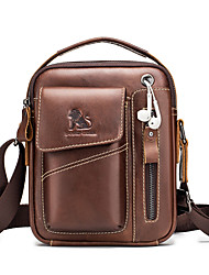 cheap -Men's Bags Cowhide Shoulder Strap Shoulder Messenger Bag Crossbody Bag Zipper Daily Office & Career MessengerBag Dark Brown Black Coffee
