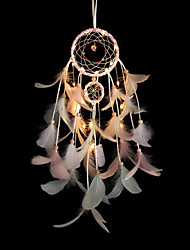 cheap -Dreamcatcher Feather Wind Chimes with LED Night Light Bedroom Décor Ornaments Dream Catcher Romantic Decorating Lights for Living Room Bedroom Christmas New Year Decoration