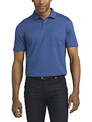 cheap -men's short sleeve jacquard stripe polo shirt, crisp blue, medium