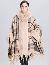 cheap -Long Sleeve Capes Faux Fur Wedding / Party / Evening Shawl & Wrap / Women's Wrap With Tassel / Plaid / Split Joint