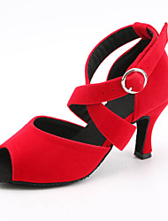 cheap -Women's Latin Shoes Salsa Shoes Sandal Sneaker Buckle Slim High Heel Light Red Blue Black Ankle Strap Satin / Performance / Leather