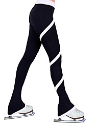 cheap -Figure Skating Pants All Ice Skating Pants / Trousers Black Pink Black / White Spandex Stretchy Training Skating Wear Handmade Solid Colored Spiral Stripe Ice Skating Winter Sports Figure Skating
