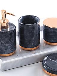 cheap -Bathroom Accessories Set, 4 Piece Ceramic Complete Bathroom Set for Bath Decor, Includes Toothbrush Holder, Soap Dispenser, Soap Dish, Cotton Bud Cup  Holiday Bathroom Decoration Gift Idea