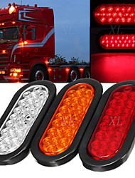 cheap -2Pcs 4.8W 6000K Oval Trailer Lights Super Bright Red 24LED Brake Turn Stop Marker Reverse Tail Lights with Waterproof Rubber Gaskets for Boat Trailer Truck RV