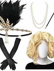 cheap -1920s wig for womens - roaring 20's wig,flapper headpiece,great gatsby beads, long satin glove,long cigarette holder,br-2