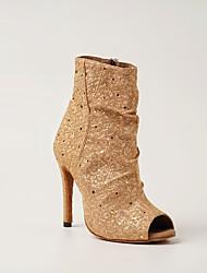 cheap -Women's Latin Shoes Jazz Shoes Modern Shoes Dance Boots Boots Crystal / Rhinestone Slim High Heel Peep Toe Light Yellow Black Dark Red Zipper