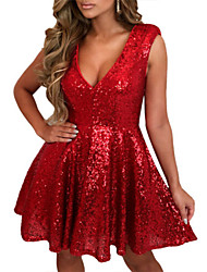 cheap -Women's A-Line Dress Short Mini Dress - Sleeveless Solid Color Sequins Summer Sexy 2020 Red S M L XL XXL