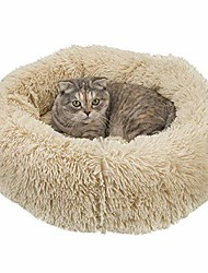 cheap -donut fluffy dog cat bed, soft faux fur donut cuddler self-warming calming bed for small medium dog cat for joint-relief and improved sleep, beige