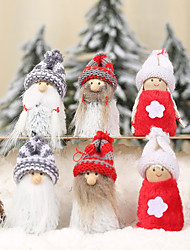 cheap -Christmas Decorations Knitted Hat Flannel Puppet Pendant Santa Claus Doll Charm