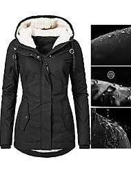 cheap -Women's Fall Winter Parka Parka Solid Colored Faux Shearling Long Sleeve Black / Wine / Navy Blue S / M / L