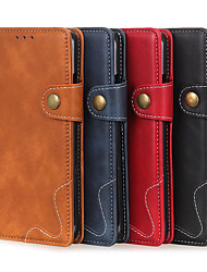 cheap -Phone Case For LG Full Body Case Leather Wallet Card LG K61 Stylo 6 Wallet Card Holder Shockproof Solid Color PU Leather
