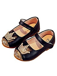 cheap -toddler girls princess dress shoes shiny crown flat shoes casual mary jane black size 22