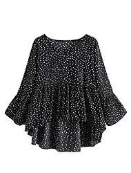 cheap -women's polka dot flounce sleeve high low hem peplum blouse shirt top brown l