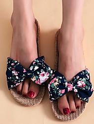 cheap -Women's Slippers & Flip-Flops Outdoor Slippers Flat Heel Open Toe Casual Boho Home Polyester Bowknot Color Block Pink Dark Blue