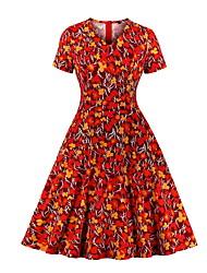 cheap -Women's A Line Dress Knee Length Dress Red Short Sleeve Floral Print Fall V Neck Elegant Casual 2021 S M
