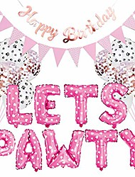 cheap -23pcs/set pet party decoration kit dog cat lets pawty balloons birthday banners party supplies