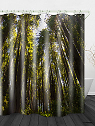 cheap -Towering Woods Digital Printing Shower Curtain Shower Curtain Shower Curtains & Hooks Modern Polyester New Design