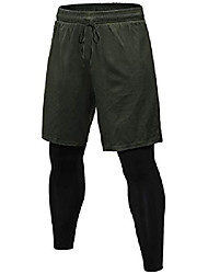 cheap -mens elastic waist 2 in 1 shorts summer workout quick-drying breathable running shorts with built-in pocket liner dark green