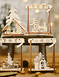 cheap -Christmas Decorations Festive Supplies Wooden Diy Swing Ornaments Christmas Ornaments Creative Tree Ornaments