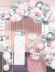 cheap -silver pink balloons garland kit, 100pcs white and silver confetti metallic latex balloons arch with 16ft tape strip & dot glue for girl baby shower, birthday party, wedding, anniversary