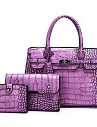 cheap -Women's Bags PU Leather Bag Set 3 Pcs Purse Set Zipper Daily Bag Sets Handbags Black Purple Yellow Brown