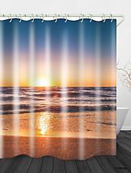 cheap -Sunset Beach Digital Printing Shower Curtain Shower Curtain Shower Curtains & Hooks Modern Polyester New Design