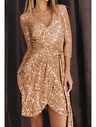 cheap -Women's Sheath Dress Short Mini Dress - 3/4 Length Sleeve Solid Color Sequins Fall V Neck Elegant Casual Slim 2020 Gold S M L XL