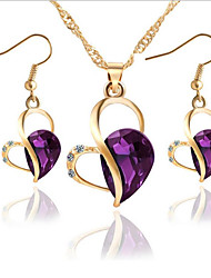 cheap -Women's Cubic Zirconia Jewelry Set Hollow Out Heart Stylish Earrings Jewelry White / Blue / Purple For Party Evening Gift Festival 1 set