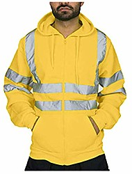 cheap -men's road work high visibility reflective hoodies 2018 novelty street costume, waterproof jacket (l, yellow)