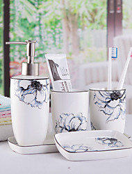 cheap -Bathroom Accessories Set 5 Piece Ceramic Complete Bathroom Set for Bath Decor Includes Soap Dispenser Soap Dish Tray 2 Mouthwash Cup  Holiday Bathroom Decoration Gift Idea